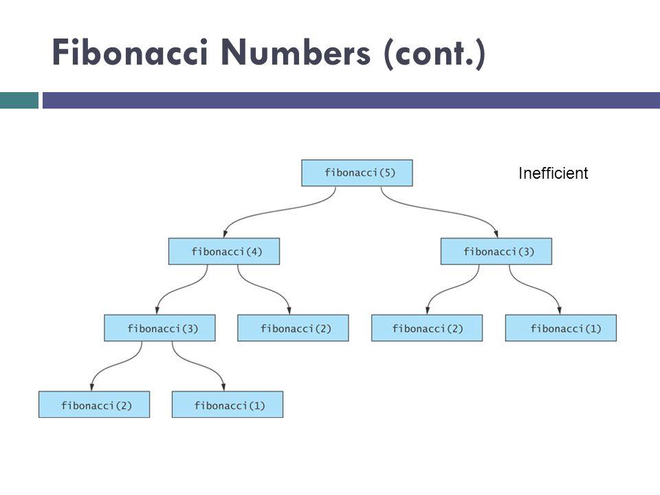 Fibonacci Numbers (cont.) Inefficient