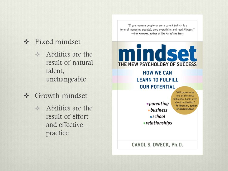 Growth Mindset  Effort is normal and necessary for growth  Try to learn/improve  Seek challenges  Failure = Need to put in more effort  Success of others = learning opportunity  Open to criticism, with realistic self-concept Fixed Mindset  Effort indicates lack of talent  Try to look good  Avoid challenges  Failure = It's pointless, just give up  Success of others = threat  Defensive, with distorted self- concept