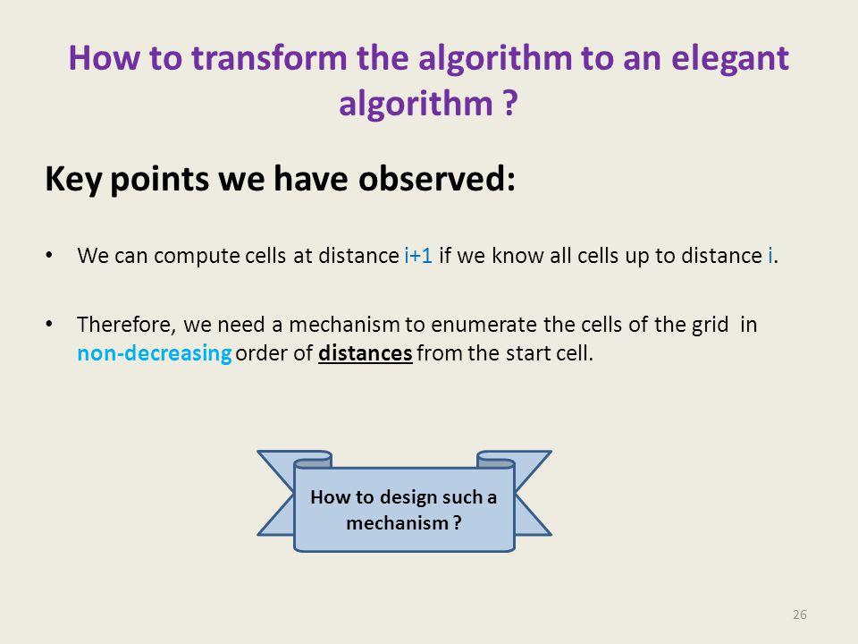 How to transform the algorithm to an elegant algorithm .