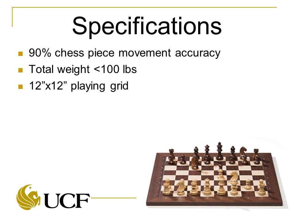 "Specifications 90% chess piece movement accuracy Total weight <100 lbs 12""x12"" playing grid"