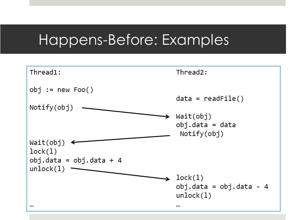 Happens-Before: Examples Thread1:Thread2: obj := new Foo() data = readFile() Notify(obj) Wait(obj) obj.data = data Notify(obj) Wait(obj) lock(l) obj.d