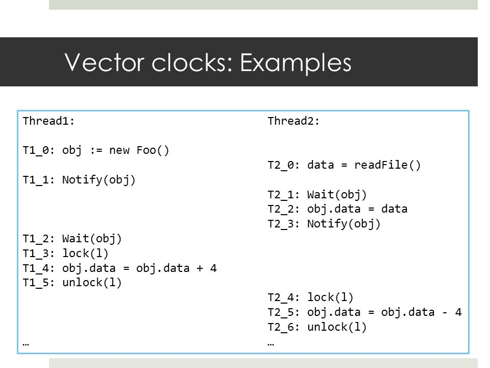 Vector clocks: Examples Thread1:Thread2: T1_0: obj := new Foo() T2_0: data = readFile() T1_1: Notify(obj) T2_1: Wait(obj) T2_2: obj.data = data T2_3: Notify(obj) T1_2: Wait(obj) T1_3: lock(l) T1_4: obj.data = obj.data + 4 T1_5: unlock(l) T2_4: lock(l) T2_5: obj.data = obj.data - 4 T2_6: unlock(l)…