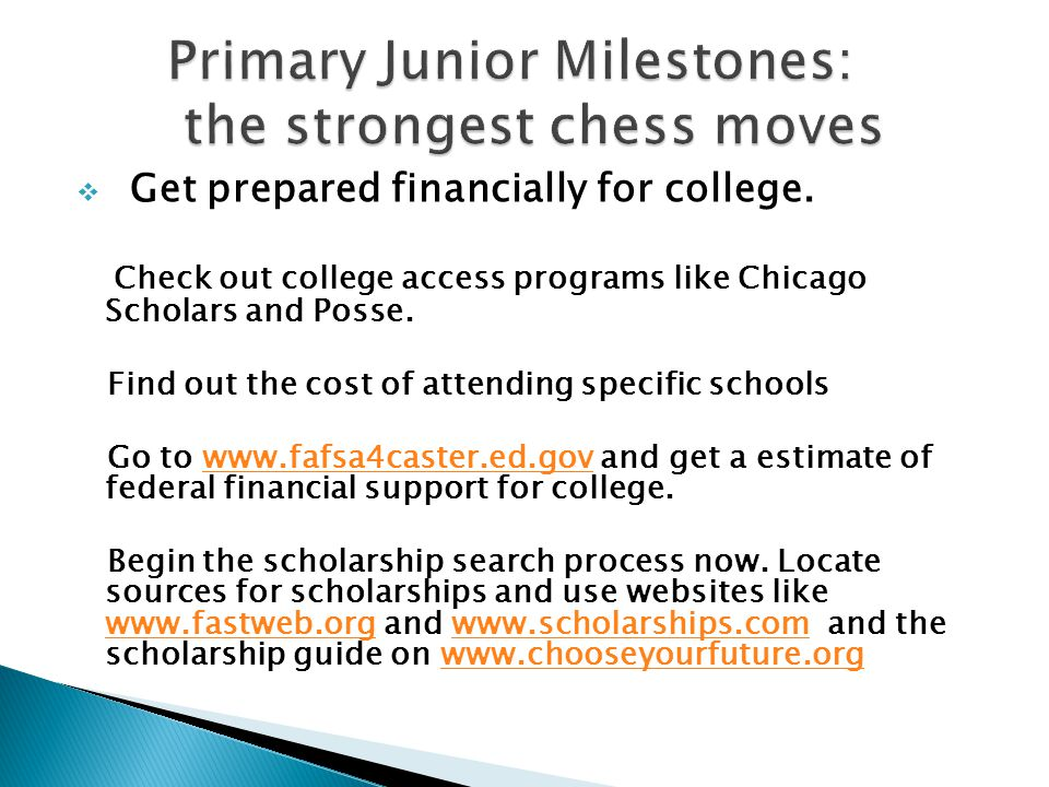  Get prepared financially for college.