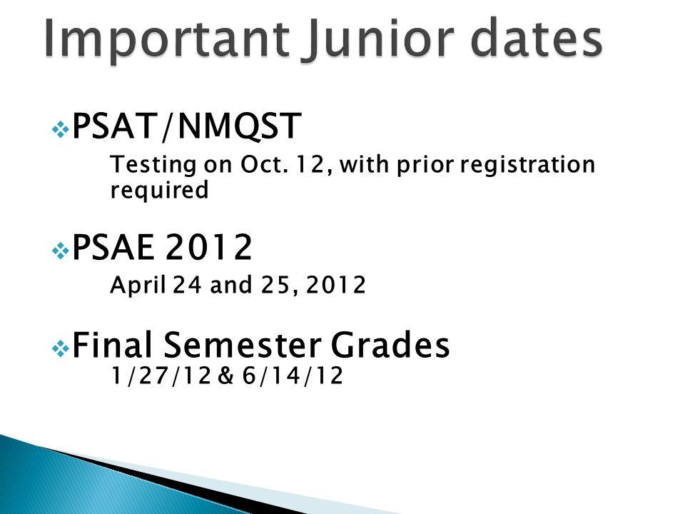  PSAT/NMQST Testing on Oct.
