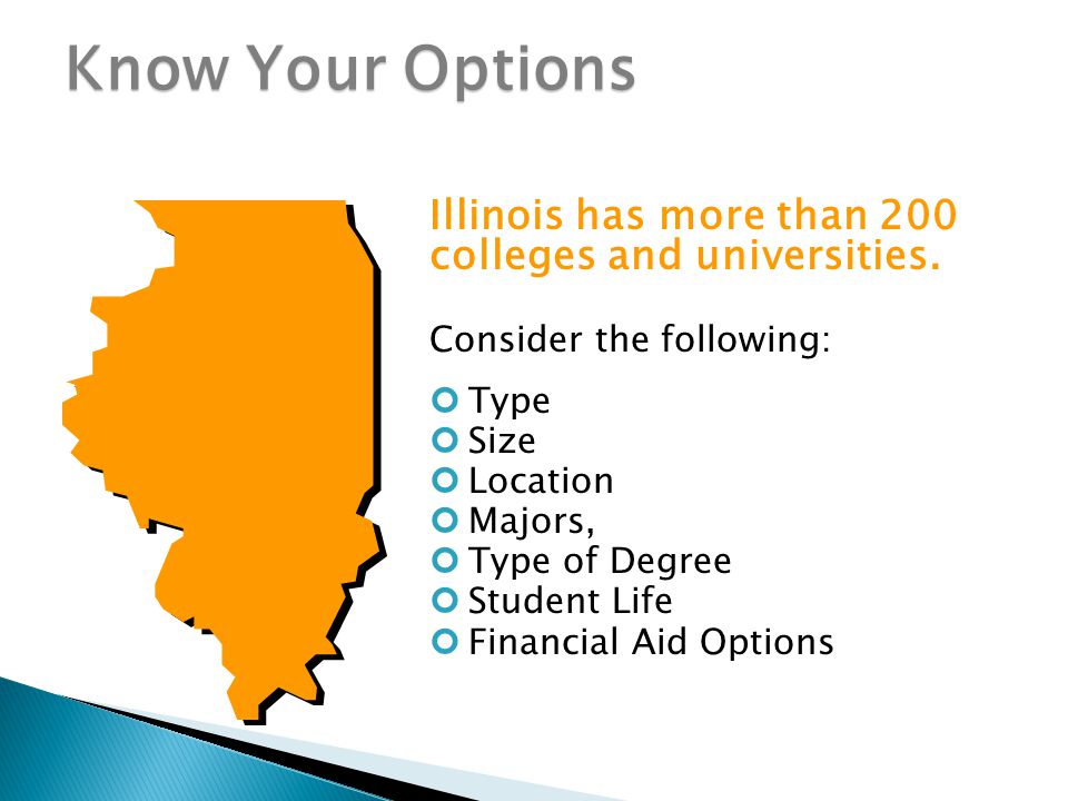 Know Your Options Illinois has more than 200 colleges and universities.