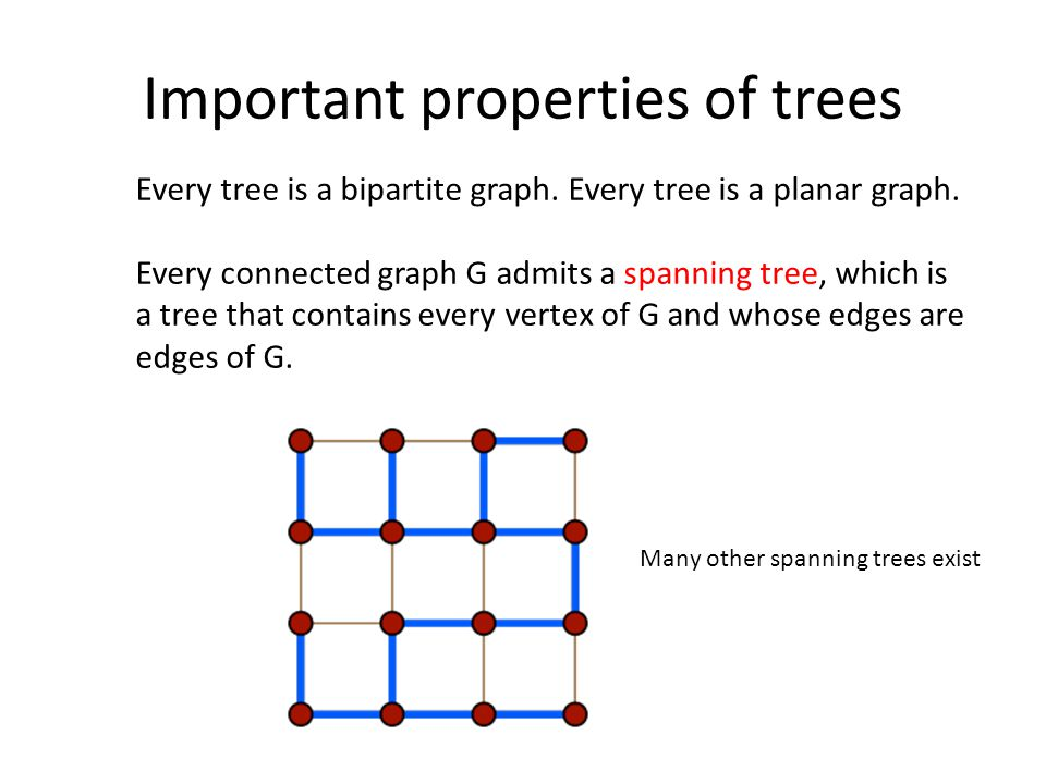Every tree is a bipartite graph. Every tree is a planar graph.
