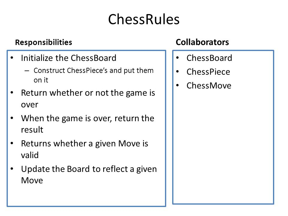 Responsibilities Initialize the ChessBoard – Construct ChessPiece's and put them on it Return whether or not the game is over When the game is over, return the result Returns whether a given Move is valid Update the Board to reflect a given Move Collaborators ChessBoard ChessPiece ChessMove