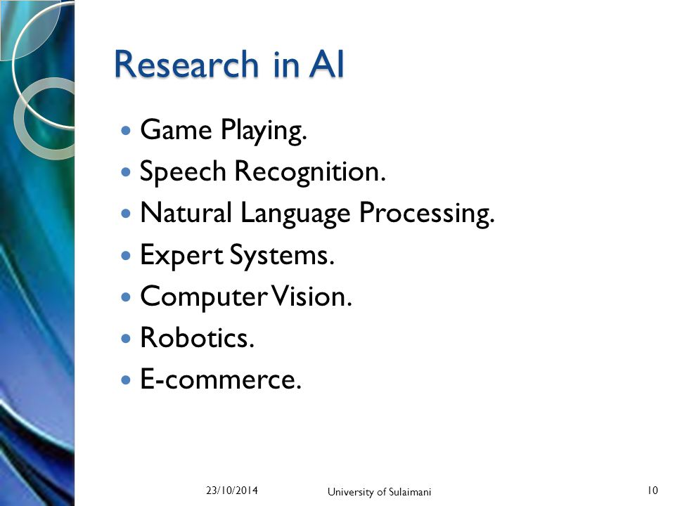 Research in AI Game Playing. Speech Recognition. Natural Language Processing.