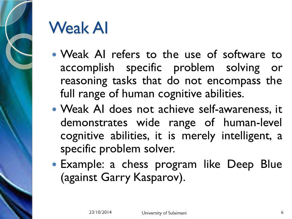 Turing Test (1950) 23/10/2014 University of Sulaimani 7