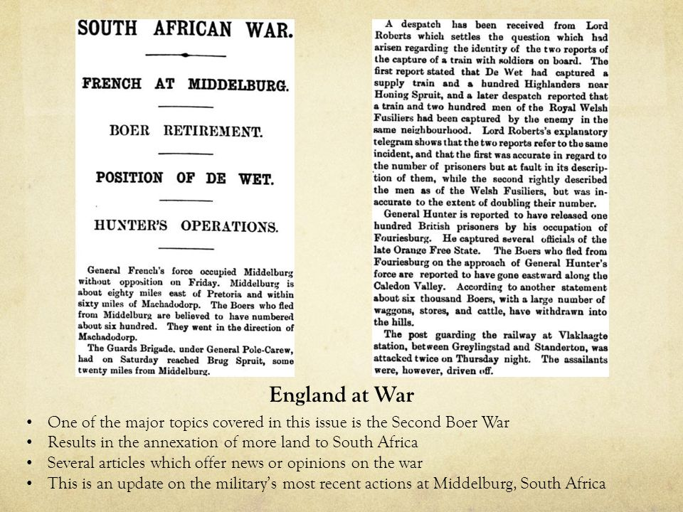 An editorial by Cecil Domville about the necessity of military reform in England Argues for modernization of the Army and improving upon the Navy Worried that although their endeavors in South Africa have been successful, the military still may be inferior to that of other nations Army Reform