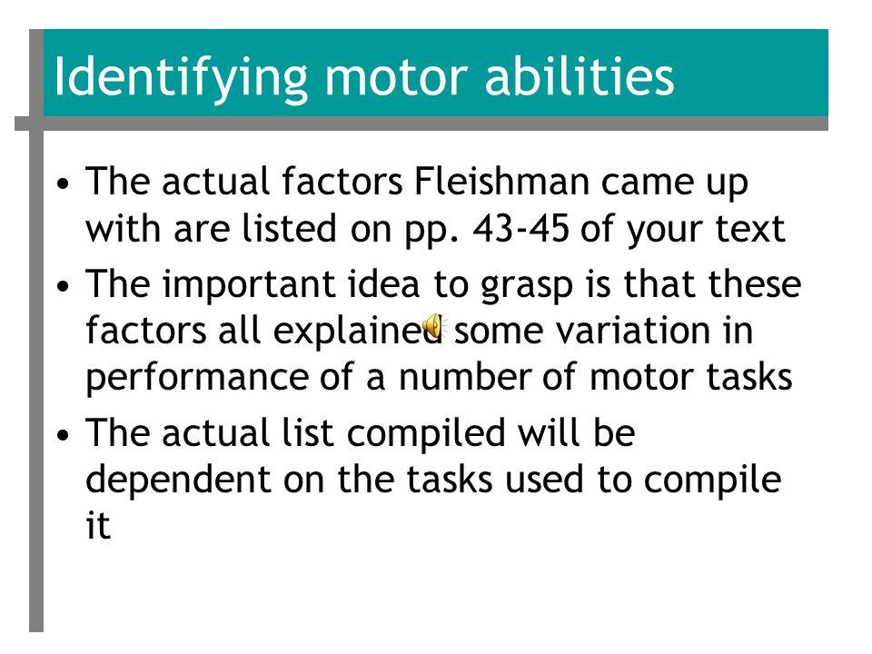 Factor Matrix (from Fleishman, 1957) – partially reproduced for instructional purposes Variable Factors IIIIIIIVVVIVIIVIIIIX 1.