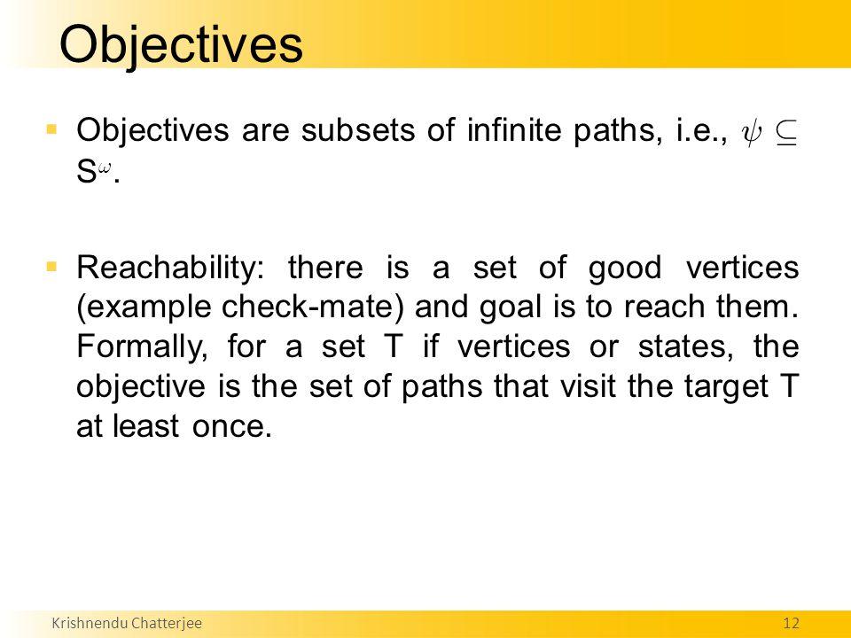 Krishnendu Chatterjee12 Objectives  Objectives are subsets of infinite paths, i.e., Ã µ S !.