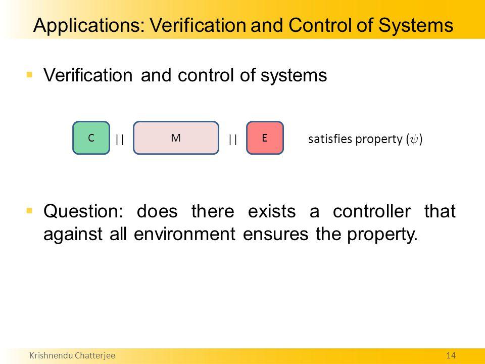 Krishnendu Chatterjee14 Applications: Verification and Control of Systems  Verification and control of systems  Question: does there exists a controller that against all environment ensures the property.