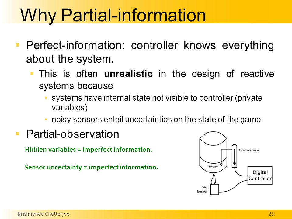 Krishnendu Chatterjee25 Why Partial-information  Perfect-information: controller knows everything about the system.