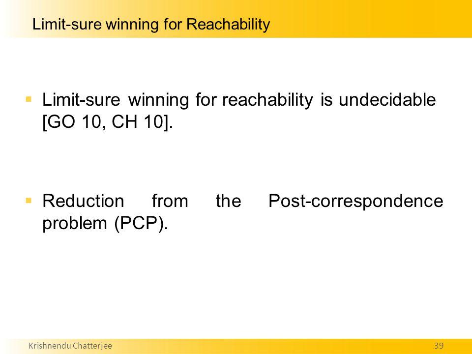 Krishnendu Chatterjee39 Limit-sure winning for Reachability  Limit-sure winning for reachability is undecidable [GO 10, CH 10].