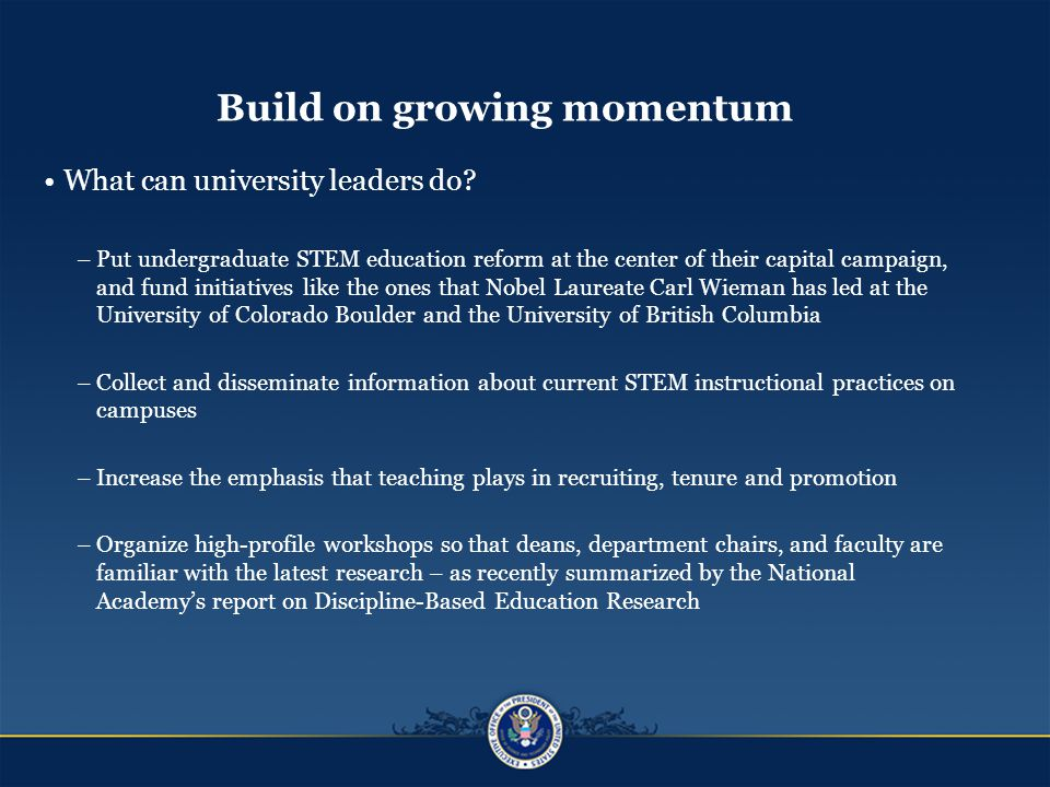 Build on growing momentum What can university leaders do.