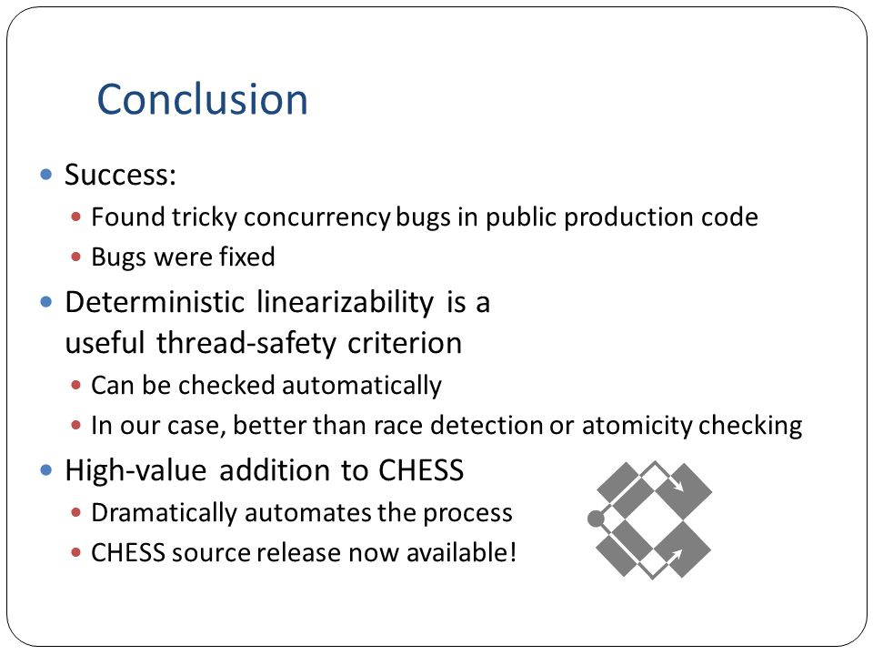 Conclusion Success: Found tricky concurrency bugs in public production code Bugs were fixed Deterministic linearizability is a useful thread-safety criterion Can be checked automatically In our case, better than race detection or atomicity checking High-value addition to CHESS Dramatically automates the process CHESS source release now available!