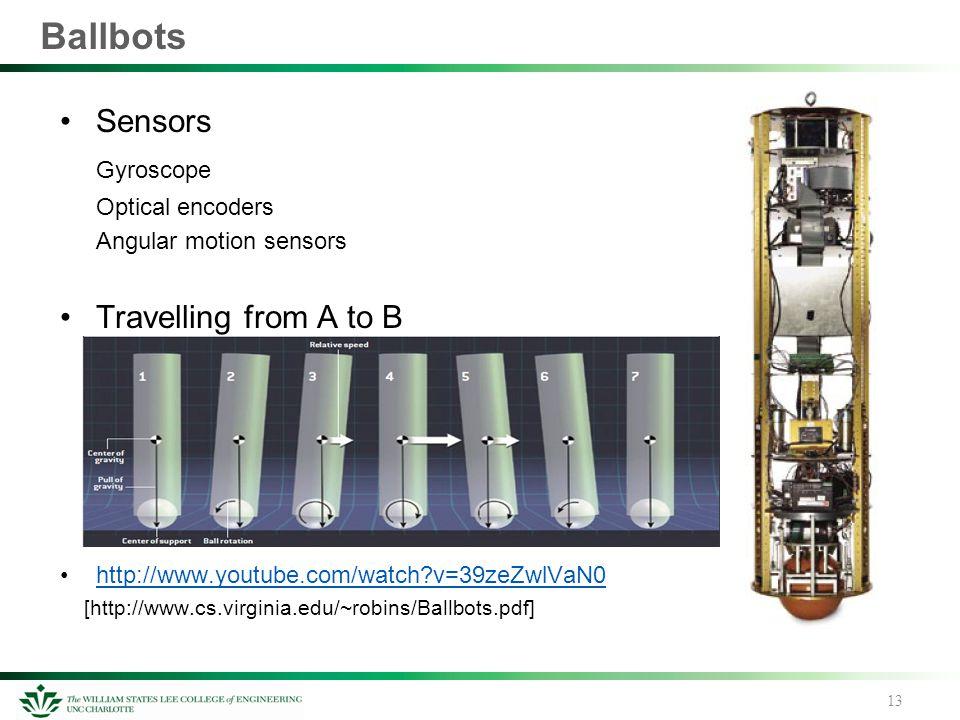 Ballbots Sensors Gyroscope Optical encoders Angular motion sensors Travelling from A to B http://www.youtube.com/watch?v=39zeZwlVaN0 [http://www.cs.vi