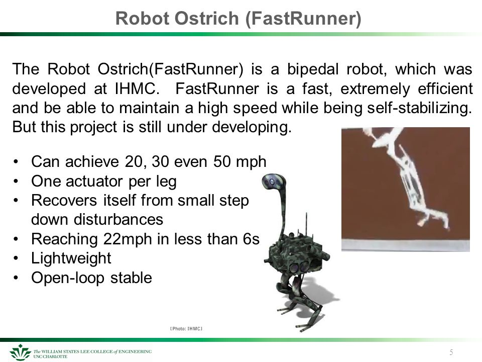 Robot Ostrich (FastRunner) 5 The Robot Ostrich(FastRunner) is a bipedal robot, which was developed at IHMC. FastRunner is a fast, extremely efficient