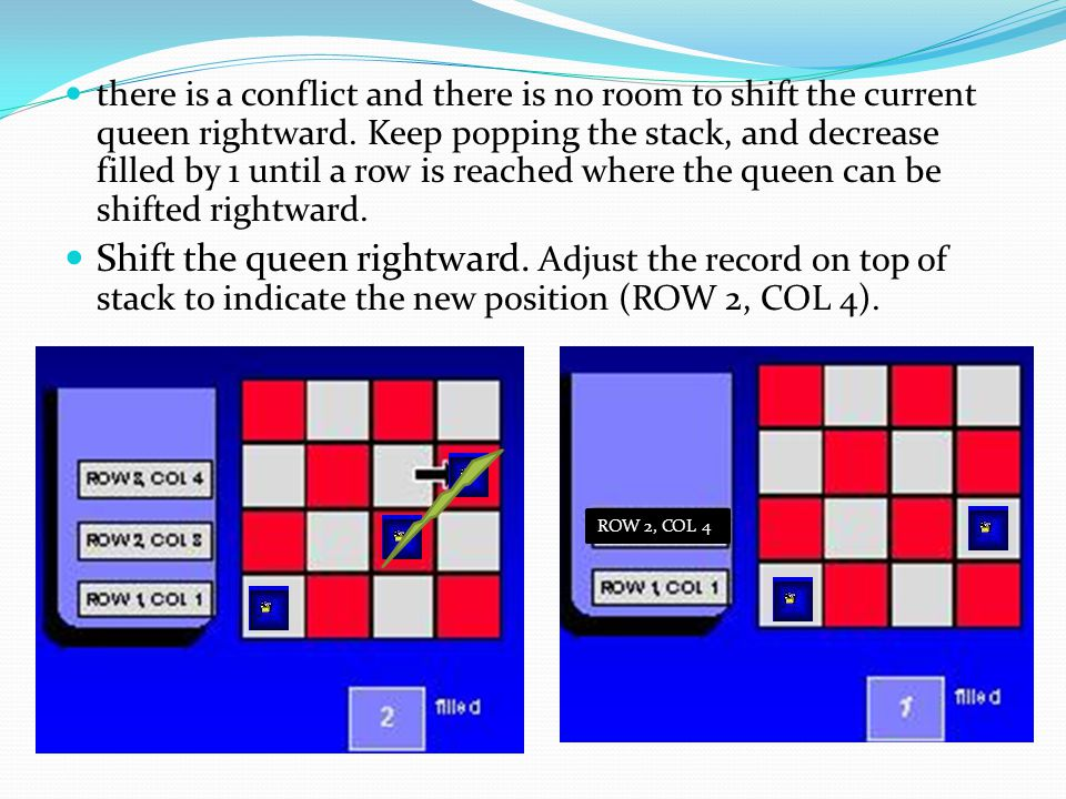 there is a conflict and there is no room to shift the current queen rightward. Keep popping the stack, and decrease filled by 1 until a row is reached