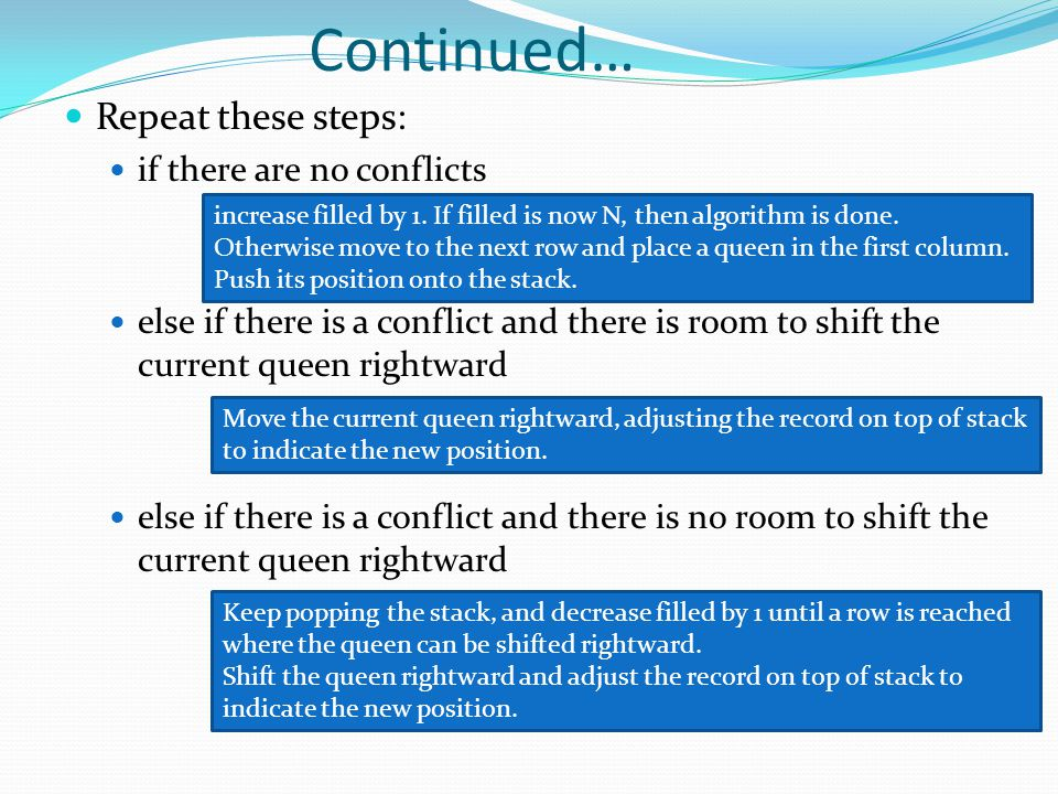 Repeat these steps: if there are no conflicts else if there is a conflict and there is room to shift the current queen rightward else if there is a co