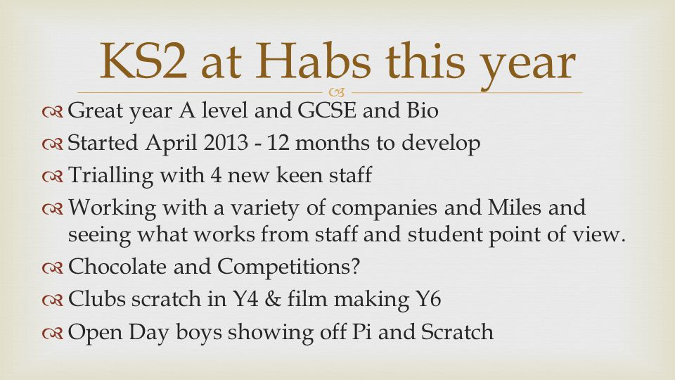   Great year A level and GCSE and Bio  Started April 2013 - 12 months to develop  Trialling with 4 new keen staff  Working with a variety of companies and Miles and seeing what works from staff and student point of view.
