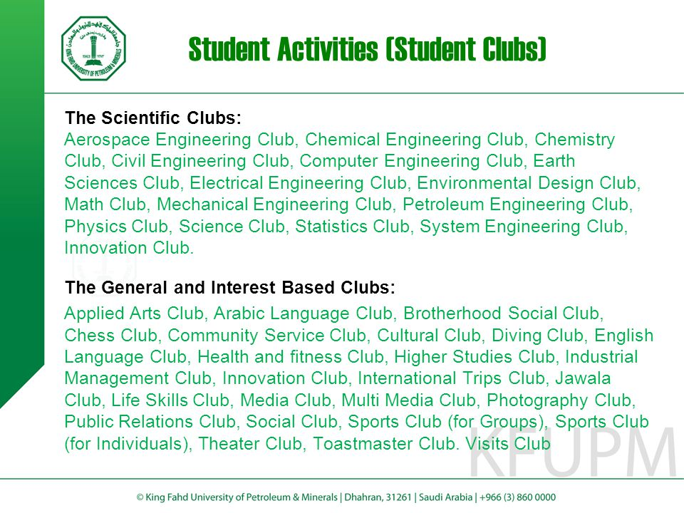 Student Fund The Student Fund performs various tasks including: Loans Incentives Support Students activities Support Students' projects