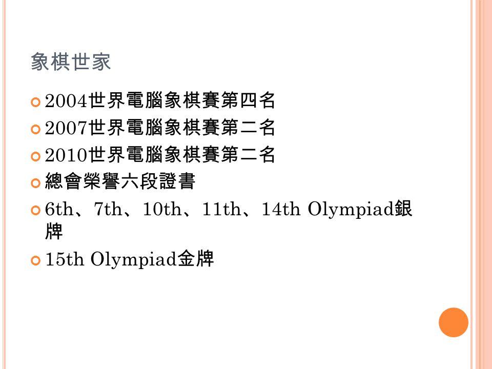 象棋世家 2004 世界電腦象棋賽第四名 2007 世界電腦象棋賽第二名 2010 世界電腦象棋賽第二名 總會榮譽六段證書 6th 、 7th 、 10th 、 11th 、 14th Olympiad 銀 牌 15th Olympiad 金牌