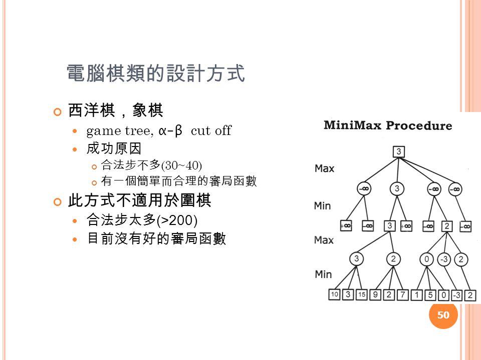 電腦棋類的設計方式 西洋棋,象棋 game tree, α-β cut off 成功原因 合法步不多 (30~40) 有一個簡單而合理的審局函數 此方式不適用於圍棋 合法步太多 (>200) 目前沒有好的審局函數 50