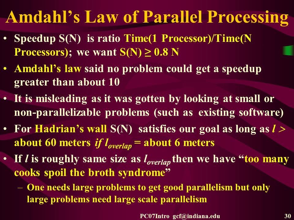 PC07Intro gcf@indiana.edu30 Amdahl's Law of Parallel Processing Speedup S(N) is ratio Time(1 Processor)/Time(N Processors); we want S(N) ≥ 0.8 N Amdah