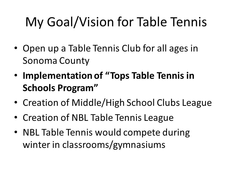 My Goal/Vision for Table Tennis Open up a Table Tennis Club for all ages in Sonoma County Implementation of Tops Table Tennis in Schools Program Creation of Middle/High School Clubs League Creation of NBL Table Tennis League NBL Table Tennis would compete during winter in classrooms/gymnasiums