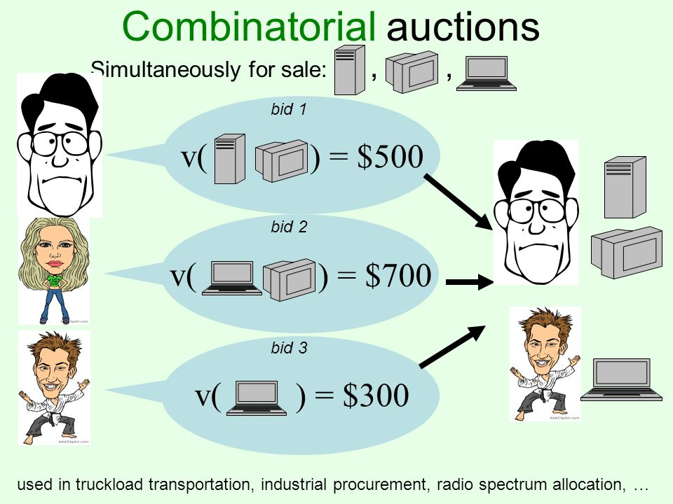 Combinatorial auctions v( ) = $500 v( ) = $700 v( ) = $300 Simultaneously for sale:,, bid 1 bid 2 bid 3 used in truckload transportation, industrial p