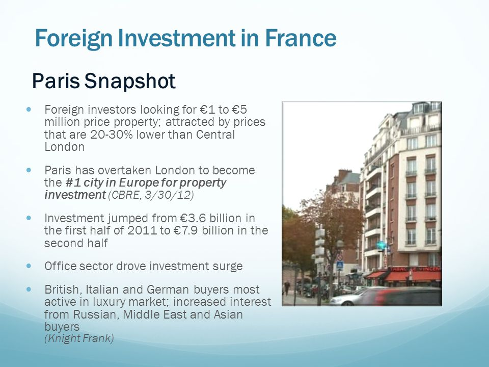 Foreign Investment in France Paris Snapshot Foreign investors looking for €1 to €5 million price property; attracted by prices that are 20-30% lower than Central London Paris has overtaken London to become the #1 city in Europe for property investment (CBRE, 3/30/12) Investment jumped from €3.6 billion in the first half of 2011 to €7.9 billion in the second half Office sector drove investment surge British, Italian and German buyers most active in luxury market; increased interest from Russian, Middle East and Asian buyers (Knight Frank)