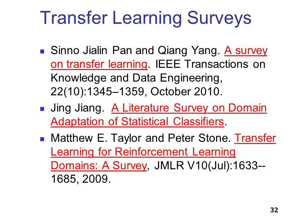 Transfer Learning Surveys Sinno Jialin Pan and Qiang Yang.