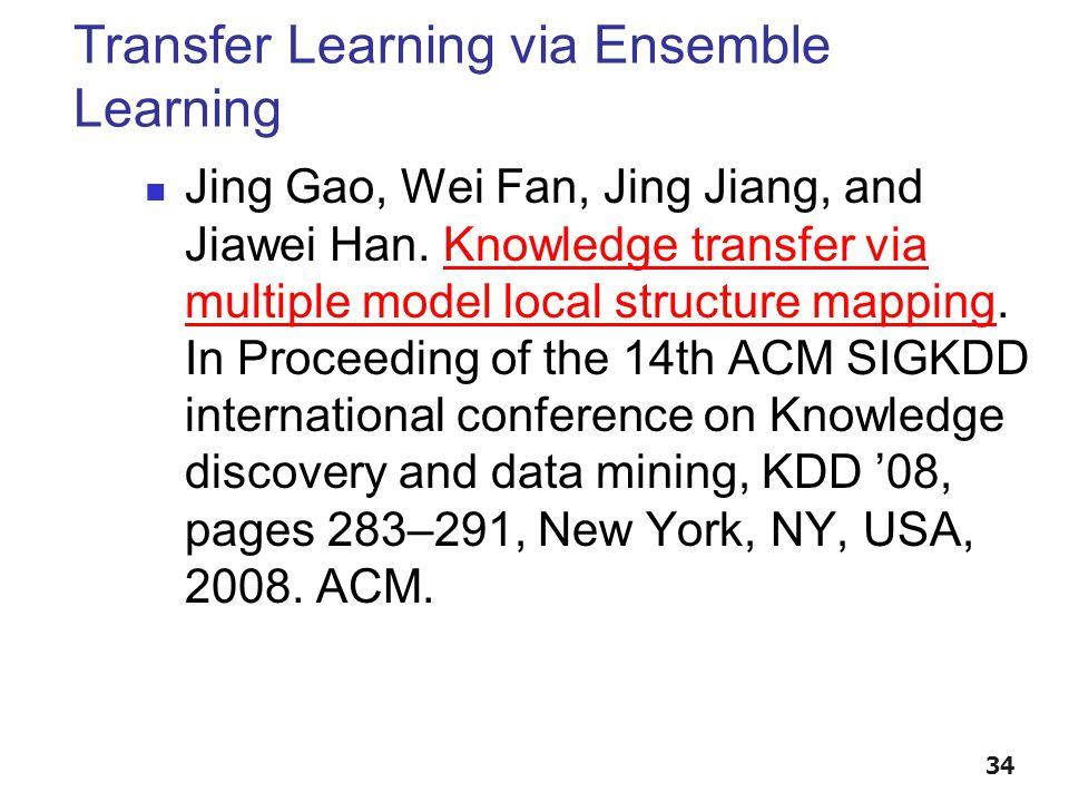 Transfer Learning via Ensemble Learning Jing Gao, Wei Fan, Jing Jiang, and Jiawei Han.