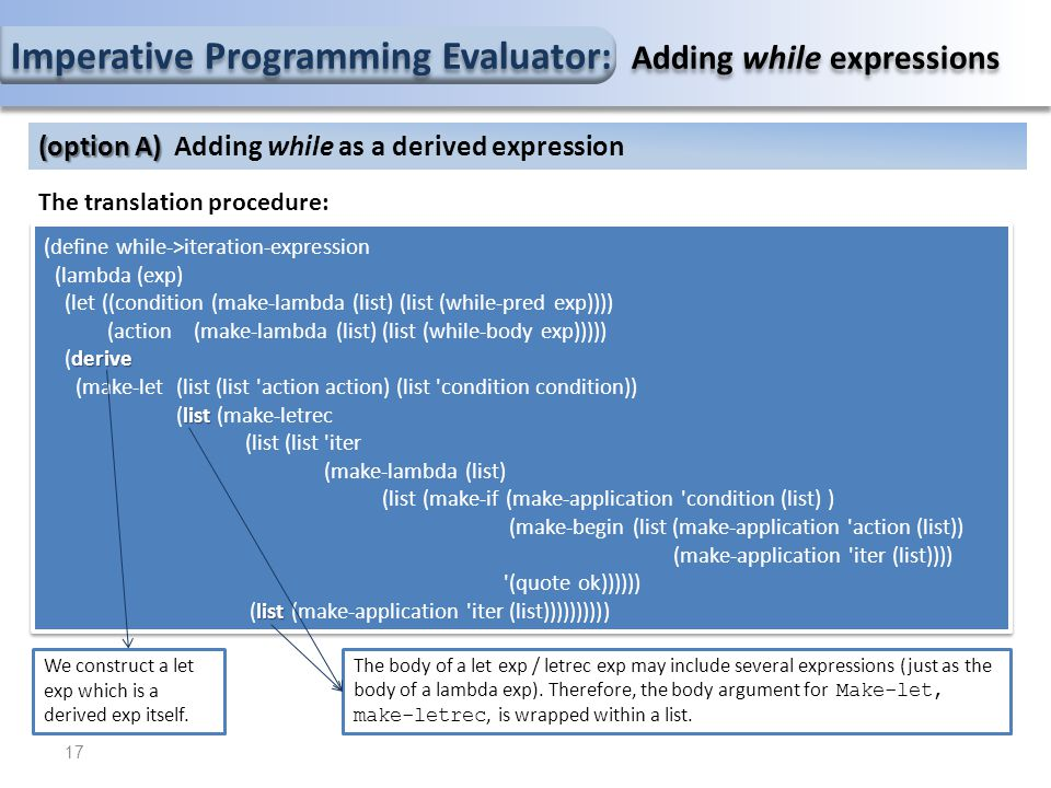 Imperative Programming Evaluator: Adding while expressions The translation procedure: (define while->iteration-expression (lambda (exp) (let ((condition (make-lambda (list) (list (while-pred exp)))) (action (make-lambda (list) (list (while-body exp))))) derive (derive (make-let (list (list action action) (list condition condition)) list (list (make-letrec (list (list iter (make-lambda (list) (list (make-if (make-application condition (list) ) (make-begin (list (make-application action (list)) (make-application iter (list)))) (quote ok)))))) list (list (make-application iter (list)))))))))) (define while->iteration-expression (lambda (exp) (let ((condition (make-lambda (list) (list (while-pred exp)))) (action (make-lambda (list) (list (while-body exp))))) derive (derive (make-let (list (list action action) (list condition condition)) list (list (make-letrec (list (list iter (make-lambda (list) (list (make-if (make-application condition (list) ) (make-begin (list (make-application action (list)) (make-application iter (list)))) (quote ok)))))) list (list (make-application iter (list)))))))))) 17 (option A) (option A) Adding while as a derived expression We construct a let exp which is a derived exp itself.