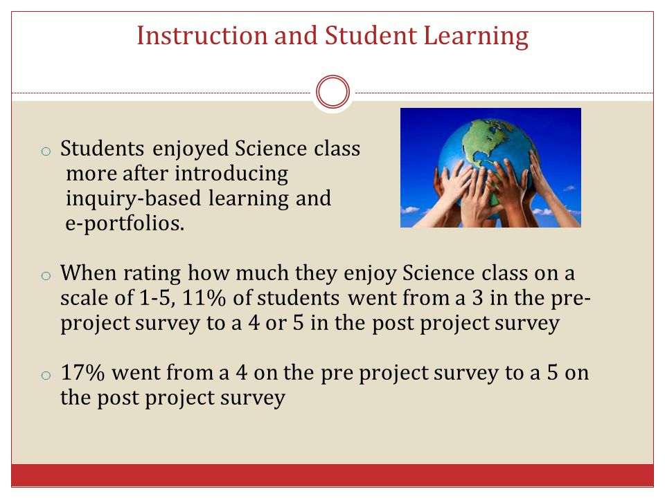 Instruction and Student Learning o Students enjoyed Science class more after introducing inquiry-based learning and e-portfolios. o When rating how mu