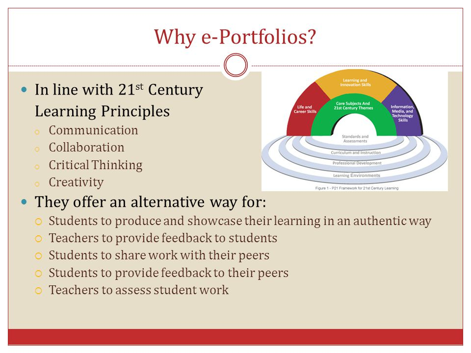 Why e-Portfolios? In line with 21 st Century Learning Principles o Communication o Collaboration o Critical Thinking o Creativity They offer an altern