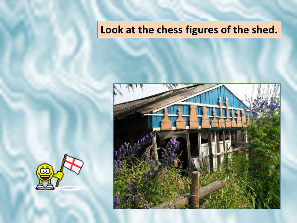 Look at the chess figures of the shed.