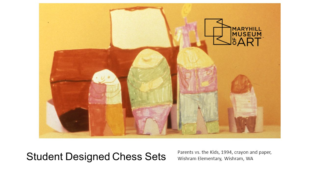Student Designed Chess Sets Parents vs. the Kids, 1994, crayon and paper, Wishram Elementary, Wishram, WA