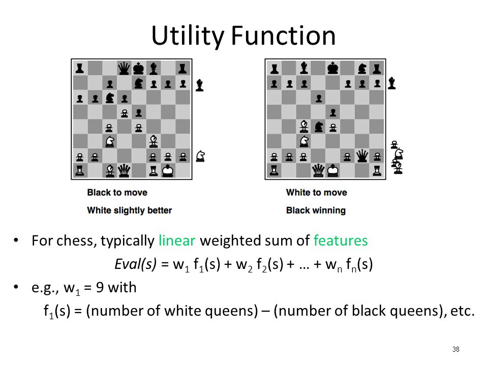For chess, typically linear weighted sum of features Eval(s) = w 1 f 1 (s) + w 2 f 2 (s) + … + w n f n (s) e.g., w 1 = 9 with f 1 (s) = (number of whi