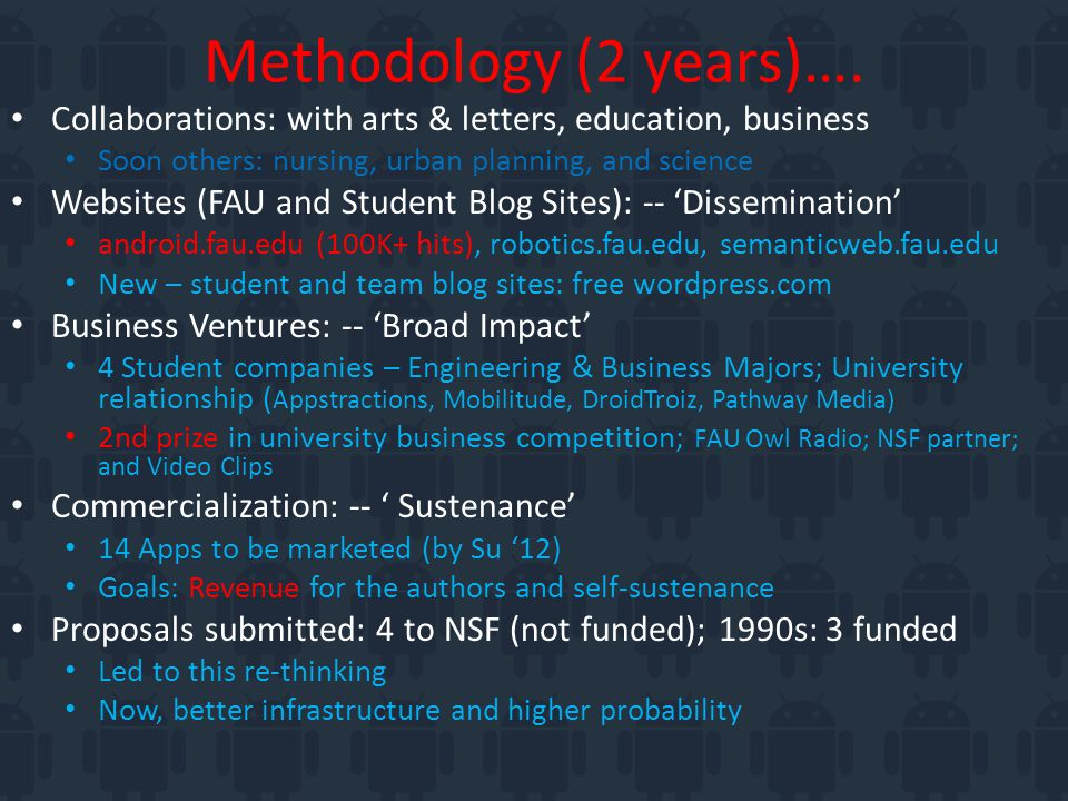Methodology (2 years)….
