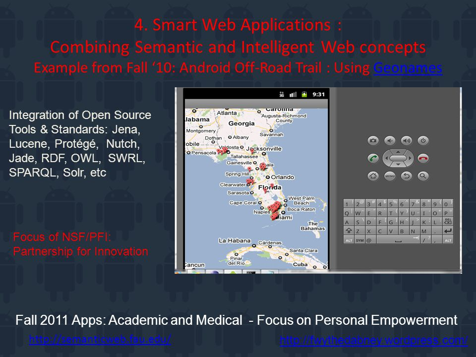 4. Smart Web Applications : Combining Semantic and Intelligent Web concepts Example from Fall '10: Android Off-Road Trail : Using GeonamesGeonames Fal