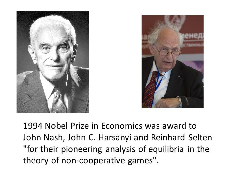 1994 Nobel Prize in Economics was award to John Nash, John C.