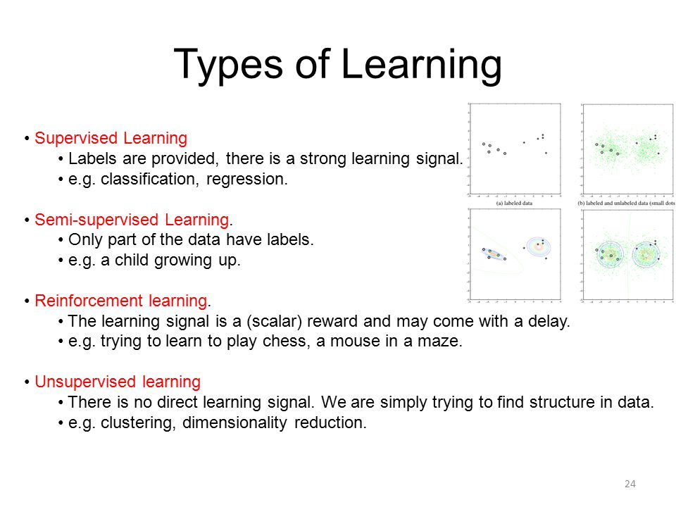 Types of Learning Supervised Learning Labels are provided, there is a strong learning signal. e.g. classification, regression. Semi-supervised Learnin