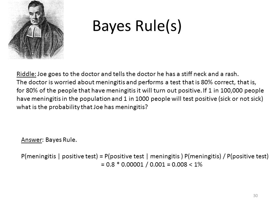 Bayes Rule(s) Riddle: Joe goes to the doctor and tells the doctor he has a stiff neck and a rash. The doctor is worried about meningitis and performs