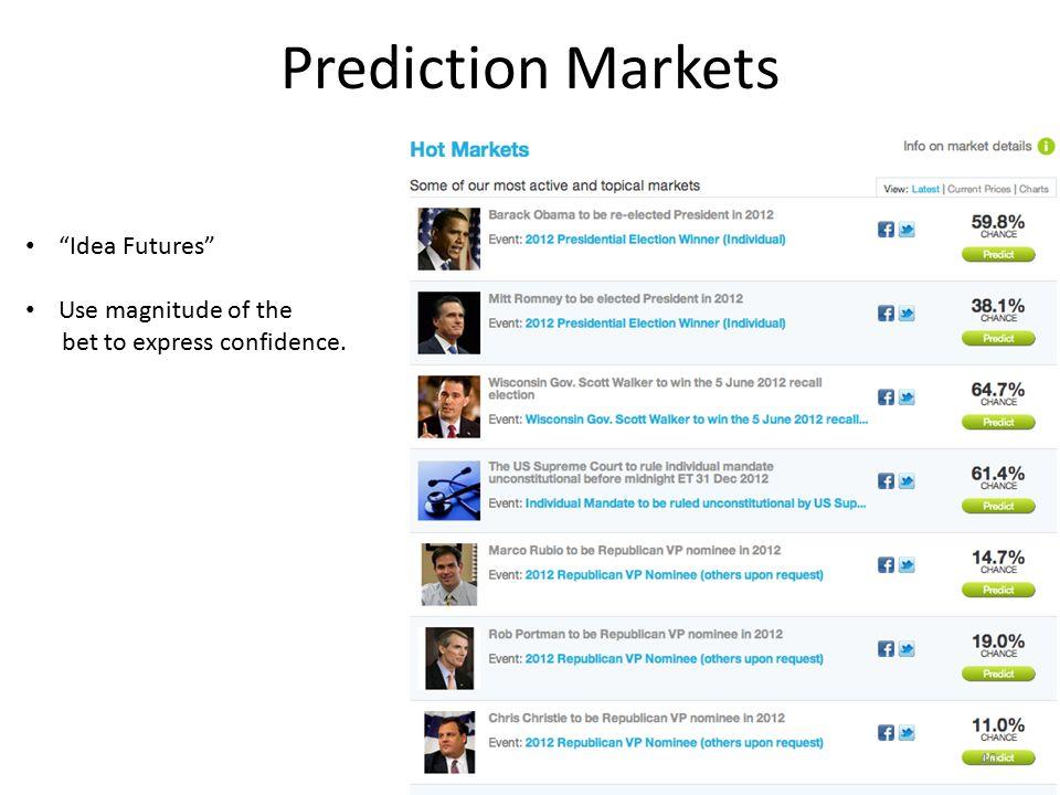 "Prediction Markets ""Idea Futures"" Use magnitude of the bet to express confidence. 40"