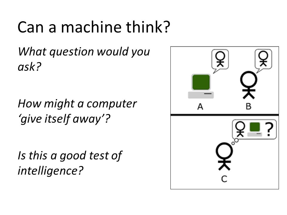 Can a machine think. What question would you ask.