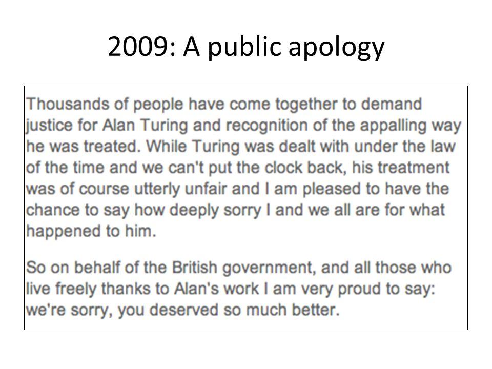 2009: A public apology
