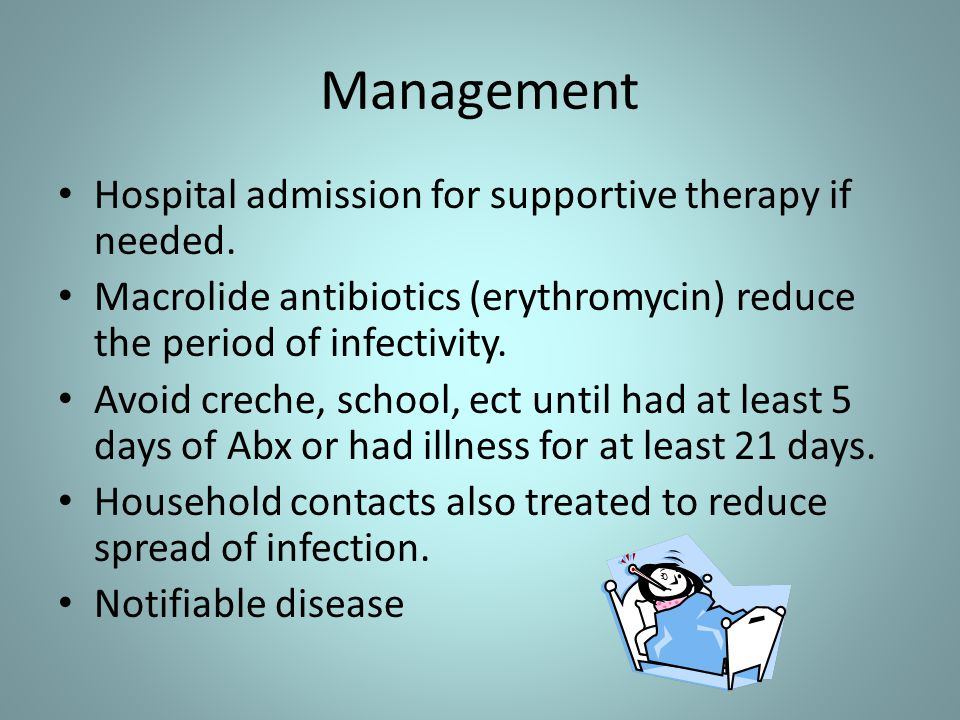 Management Hospital admission for supportive therapy if needed. Macrolide antibiotics (erythromycin) reduce the period of infectivity. Avoid creche, s